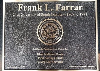 Governor Frank Farrar Plaque