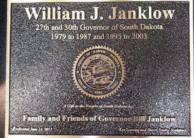 Governor William J. Janklow Plaque