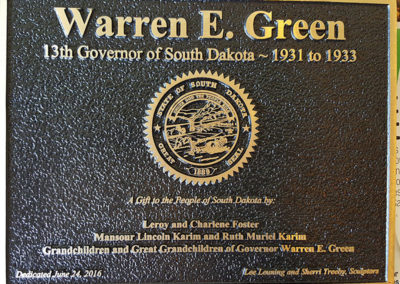 Governor Warren Green Plaque