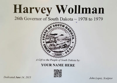Governor Harvey Wollman Plaque
